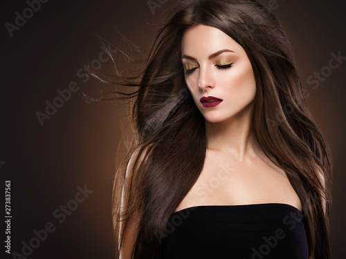 Tuinposter Kapsalon Beautiful hair woman long hairstyle model beauty concept female portrait