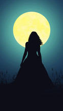 Silhouette Of A Girl On The Background Of The Moon