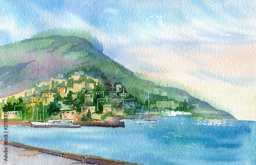 Beautiful watercolor landscape. View of the sea and Yalta . Crimea.
