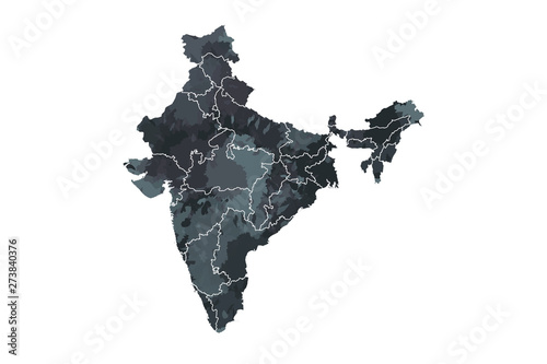 Cuadros en Lienzo  India watercolor map vector illustration in black color with different regions o