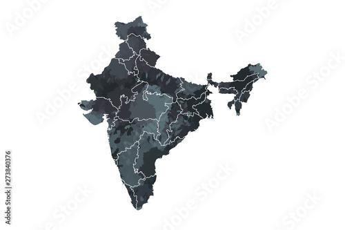 Fotografía  India watercolor map vector illustration in black color with different regions o