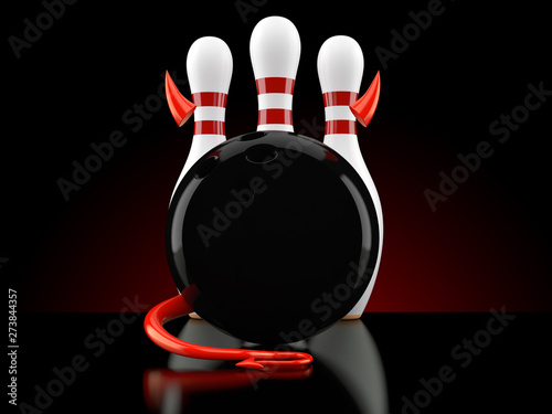 Bowling ball and pins with devil horns and tail - Buy this