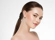 canvas print picture - Beauty woman healthy skin face hair and natural makeup beautiful portrait