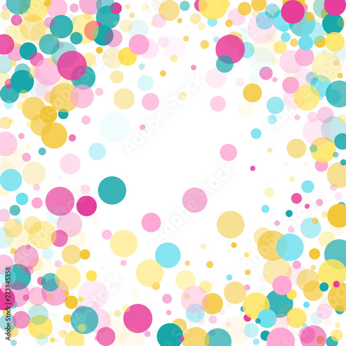 Valokuva  Memphis round confetti festive background in cyan blue, pink and yellow