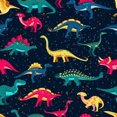 Colorful cute dinosaurs on black background. Vector seamless pattern. Fun textile cartoon kids print design