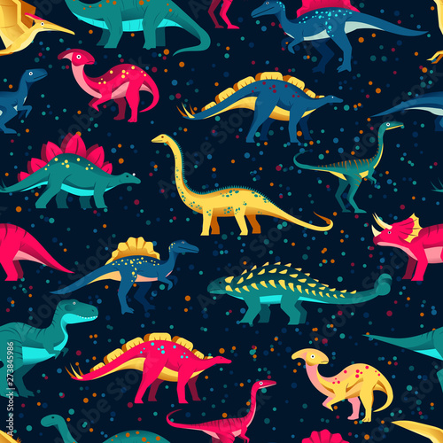 Colorful cute dinosaurs on black background. Vector seamless pattern. Fun textile cartoon kids print design