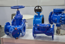 Industrial Construction Piping System Component. Check Valve, Gate Valve, Butterfly Valve And Strainer