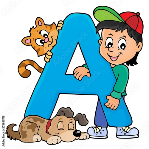 Deurstickers Voor kinderen Boy and pets with letter A