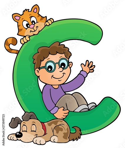Fotobehang Voor kinderen Boy and pets with letter C