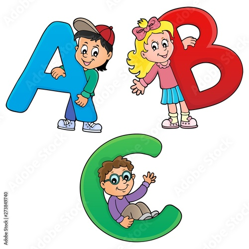 Deurstickers Voor kinderen Children with letters ABC theme 1