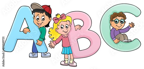 Deurstickers Voor kinderen Children with letters ABC theme 2