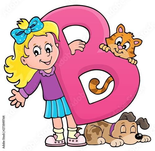 Fotobehang Voor kinderen Girl and pets with letter B
