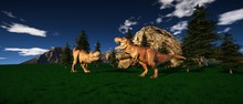 Extremely Detailed And Realistic High Resolution 3d Illustration Of A T-Rex Dinosaur During The Jurassic Era