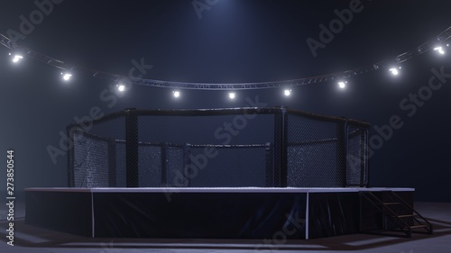Photo Mma arena side view. Empty fight cage under lights. 3D rendering