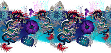 Border Of Asian Dragon And Flowers. Vector Illustration. Suitable For Fabric, Wrapping Paper And The Like