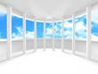 Futuristic White Architecture Design on Cloudy Sky Background