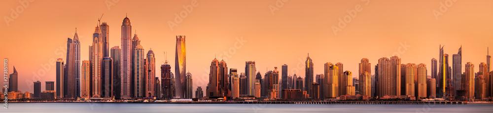 Fototapeta Dubai Marina bay view from Palm Jumeirah, UAE