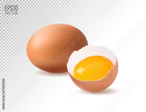 Fototapeta Realistic chicken eggs with egg yolk on a transparent background. Design element. Isolate. obraz
