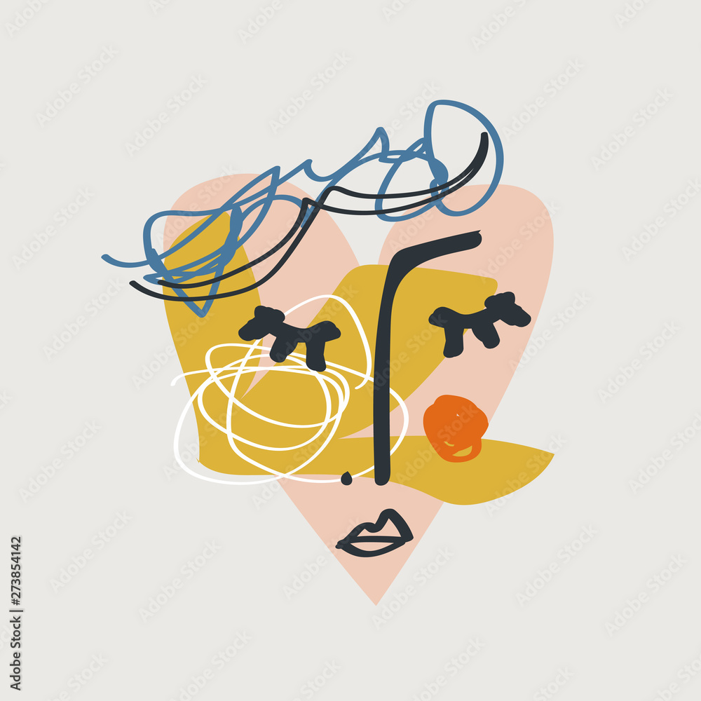 Modern collage face with abstract shapes, mid century modern wall art, scandinavian style hand drawn design elements. Print for cloth, banners, flyers and more. Nordic graphic design. Eps vector