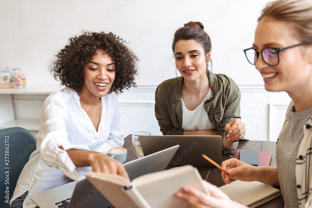 Fototapeta Group of cheerful young women studying together