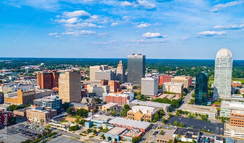 Fototapeta Winston-Salem North Carolina NC Drone Skyline Aerial