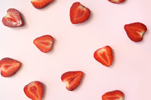 Strawberry Slice Red Background Texture. Top View. Concept Of Summer Eco Food