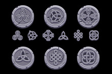 Celtic Symbols. Cartoon Set Celtic Icons On Stone Coin. Objects On Separate Layers.