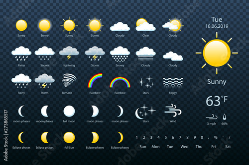 set weather icons Fototapet