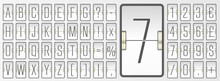 White Scoreboard Font With Numbers For Showing Flight Departure Information. Airport Terminal Mechanical Flip Board Alphabet To Display Timetable Vector Illustration.