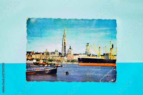 Türaufkleber Schiff Old postcard