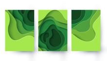 Set Of Three Eco Abstract Gree...