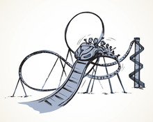 Roller Coaster. Vector Drawing