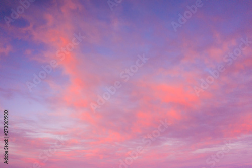 Beautiful sunset clouds in pink colors