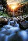 Fototapeta Kamienie - Svartifoss waterfall with basalt pillars, Iceland