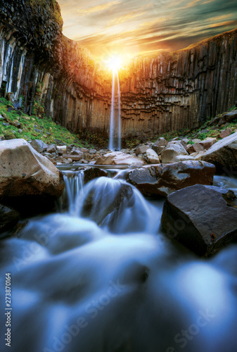Svartifoss waterfall with basalt pillars, Iceland