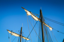 Double Mast Of An Old Tall Ship Or Schooner Sailing Boat