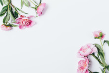 Floral Flat Lay Background With Pink Flowers