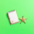 Leinwandbild Motiv notebook with sseashells on pink background top view flat lay. Planning summer holidays, tourism and vacation concept