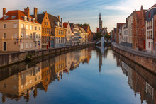 Old Town At Sunset, Bruges, Be...