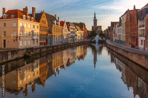 Old town at sunset, Bruges, Belgium