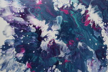 Abstract Acrylic Pour Painting Made With Hairdryer Technique To Resemble A Tempest At Sea, In Colors Of Blue, Purple, And White.