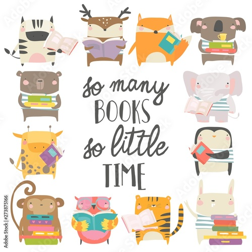 Cute animals reading books on white background