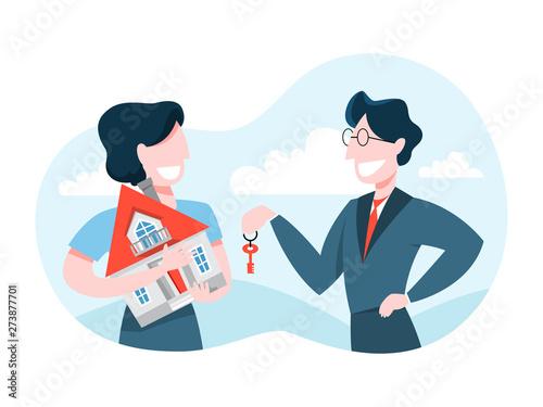 Fotografia Man buy house. Real estate agent holding key