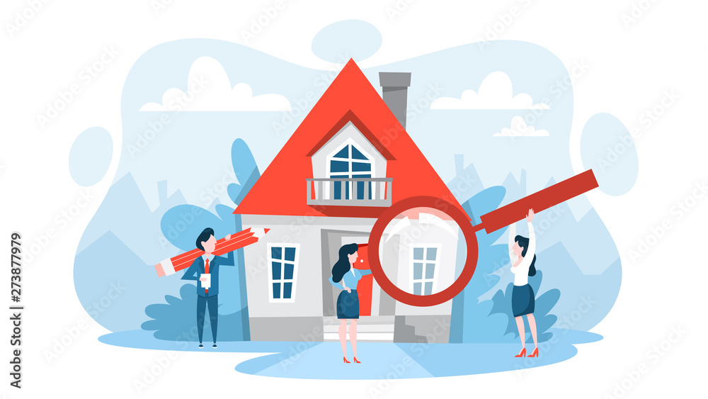 Fototapeta Search property with magnifying glass. Idea of real estate