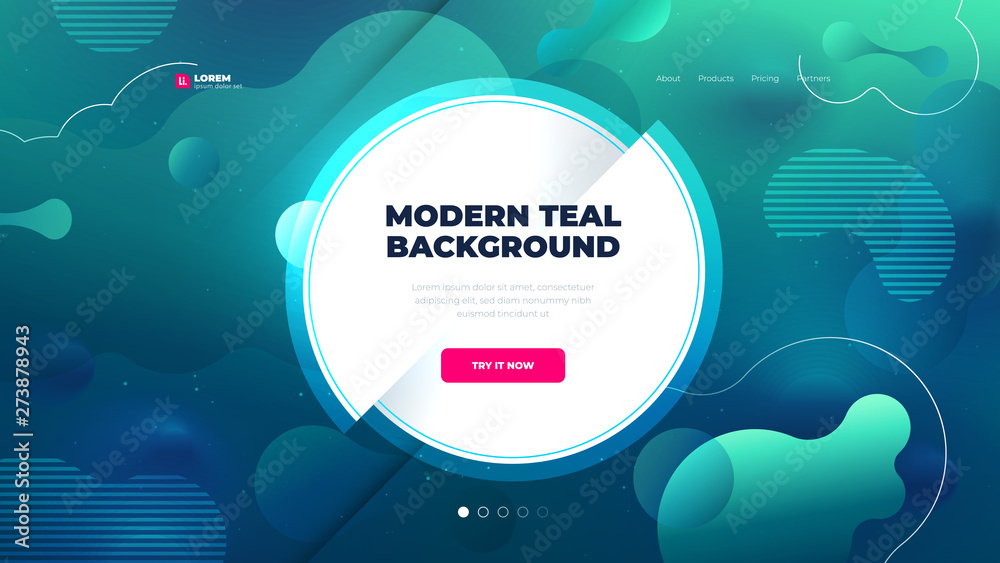 Fototapeta Teal Liquid color background design for Landing page site with circle. Fluid gradient shapes composition. Futuristic design posters. Eps10 vector.