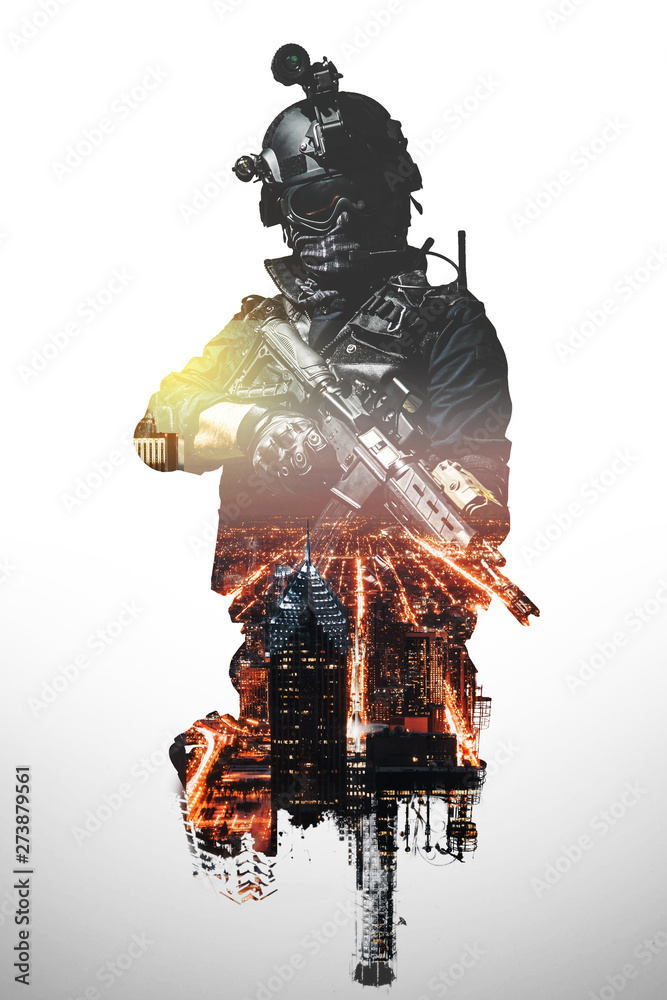 Fototapety, obrazy: Special forces soldier with rifle. SWAT team members , double exposure