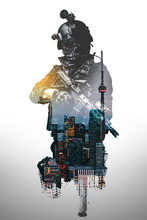 Special Forces Soldier With Rifle. SWAT Team Members , Double Exposure