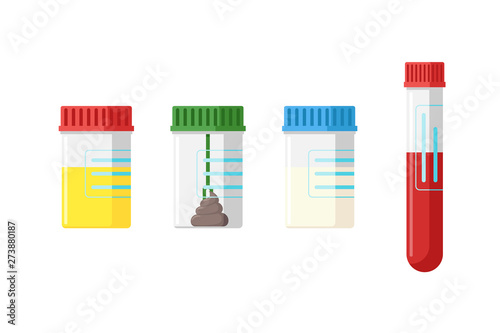 Obraz na plátně Medical analysis laboratory test urine stool feces sperm semen and blood in plastic jars with colored lids