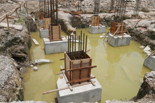 Pile Cap And Column Stump Under Construction At The Construction Site. Constructed Using Reinforced Concrete With Plywood Timber As A Form Work.
