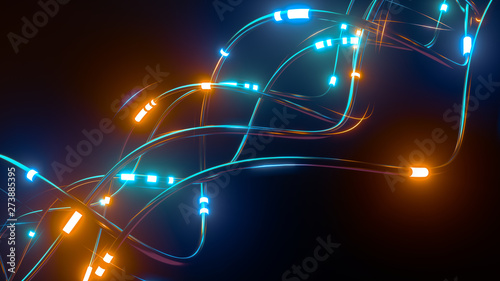 Photographie Digital wires with moving information impulse